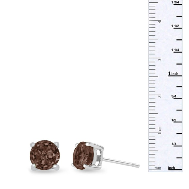 Sterling Silver 2 Carat Round Smoky Quartz Earrings