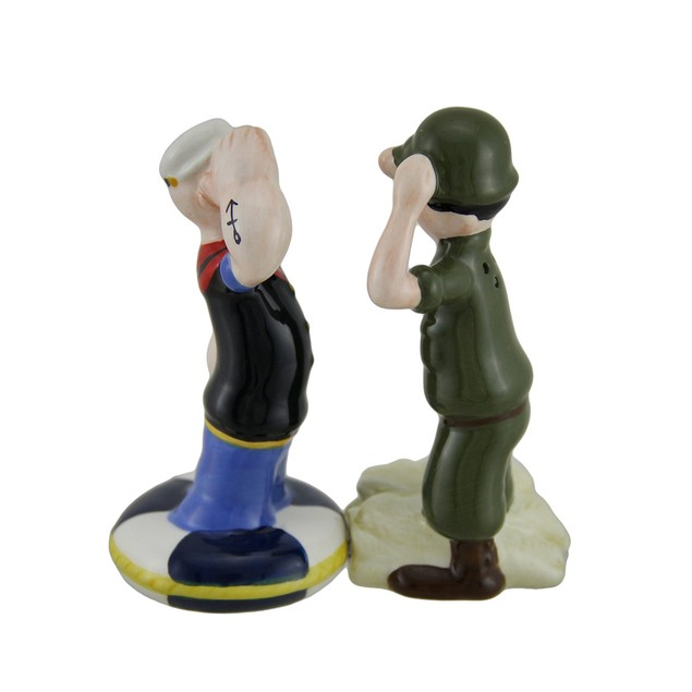 Popeye And Beetle Bailey Army Navy Salute Salt And Salt And Pepper Shaker