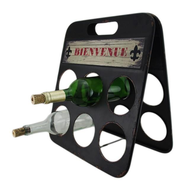 Fleur De Lis Bienvenue Distressed Metal 6 Bottle Wine Racks