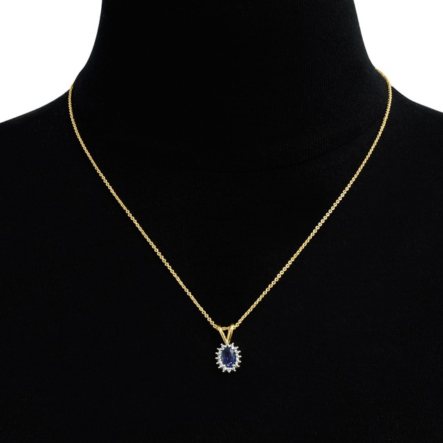 """1ct Oval Sapphire and Halo Diamond Necklace, 18"""""""