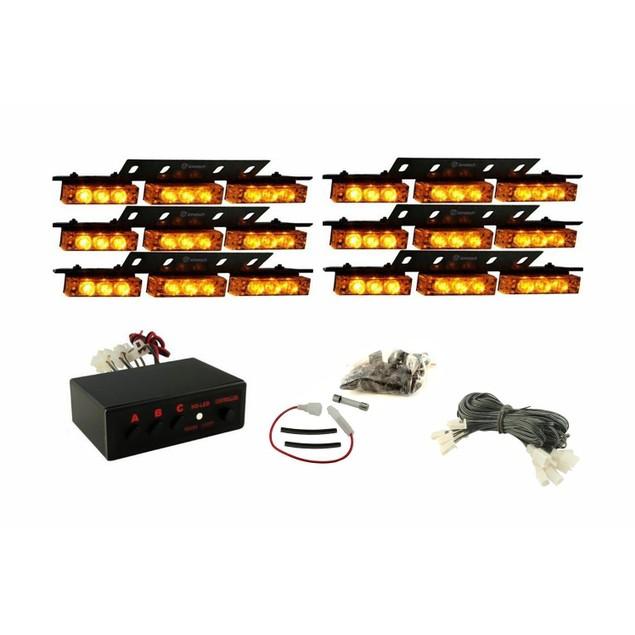 Zone Tech 54 LED Emergency Warning Strobe Lights Amber Windshield