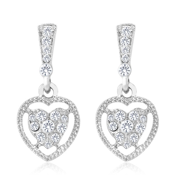 Crystal Heart Drop Earrings
