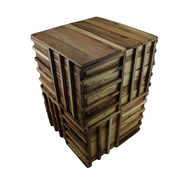 Weaved Recycled Acacia Wood Accent Stool/Plant Plant Stands