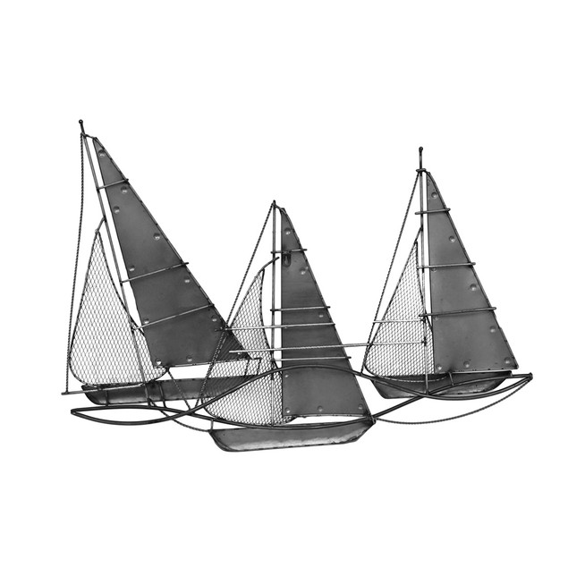 Three Hands Metal Sail Boat Wall Sculpture Wall Sculptures