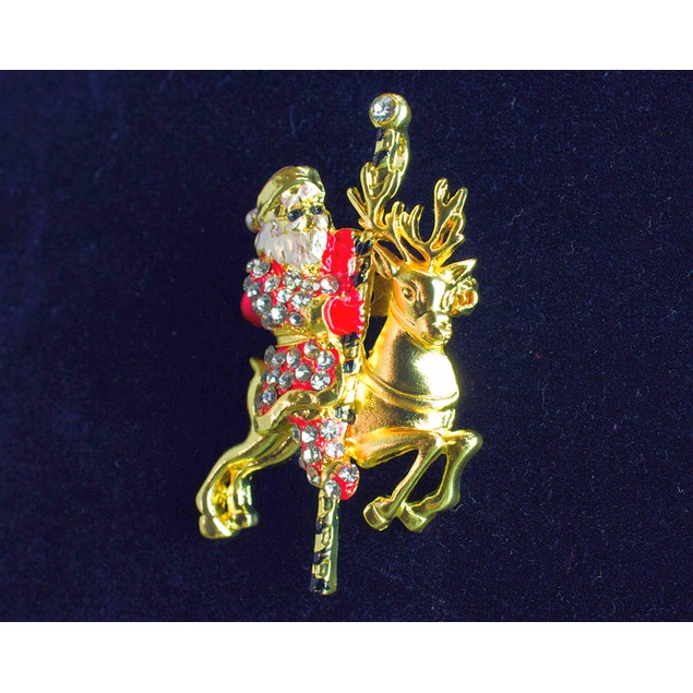 Santa Riding Carousel Brooch