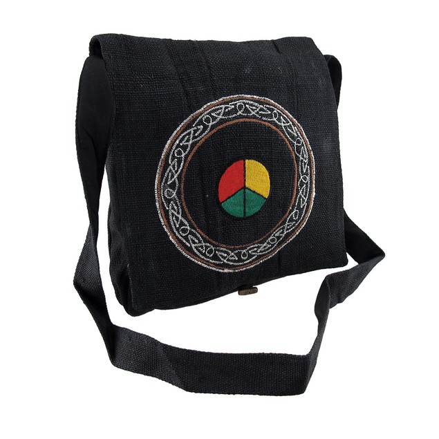 Embroidered Hemp Cloth Peace Sign Celtic Design Womens Cross Body Bags