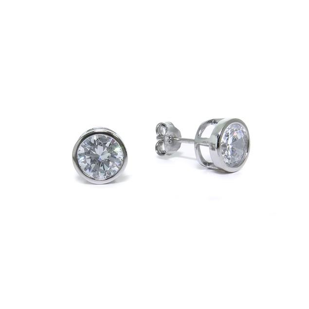 Sterling Silver Round CZ Bezel Stud Earrings; 7mm