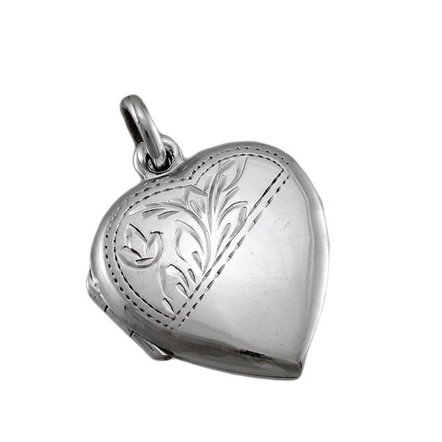 Sterling Silver Etched Heart Locket Pendant Pendants