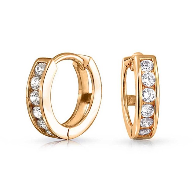 10k Yellow Gold & CZ Huggie Earring