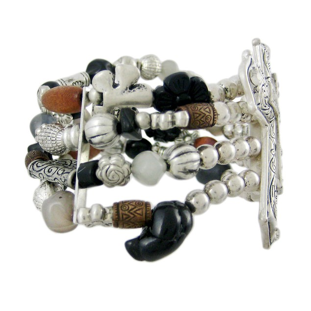Rhinestone Accented Cross Beaded Stretch Bracelet Womens Bangle Bracelets