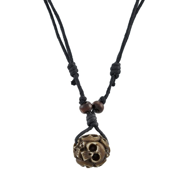 Black Slider Cord Necklace With Brown Ossuary Mens Pendant Necklaces
