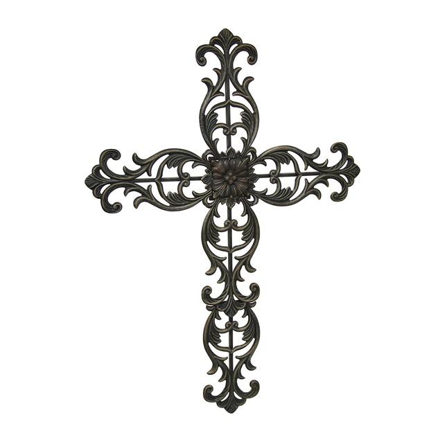 Elegant Floral Scroll Metal Wall Cross Antique Wall Crosses