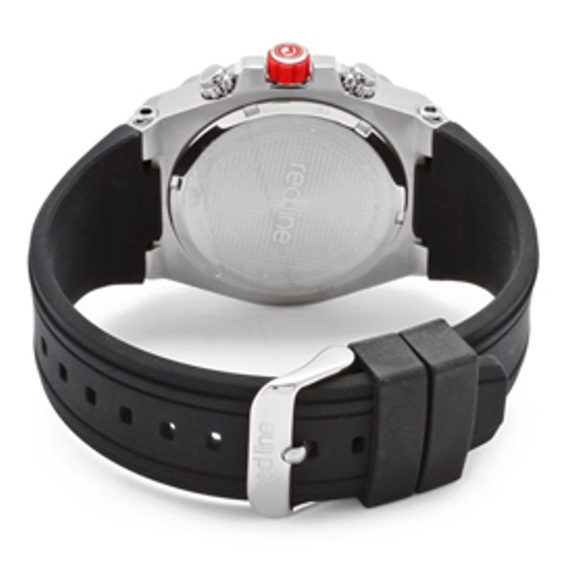 Red Line Men's Activator Chronograph Light Silver Textured Dial Black Silicone