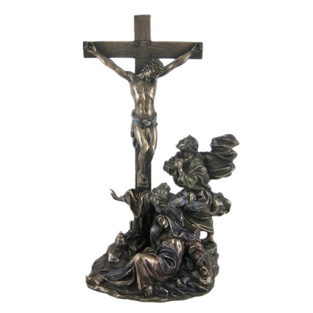 Crucifixion Bronzed Finish Statue Jesus Christian Statues