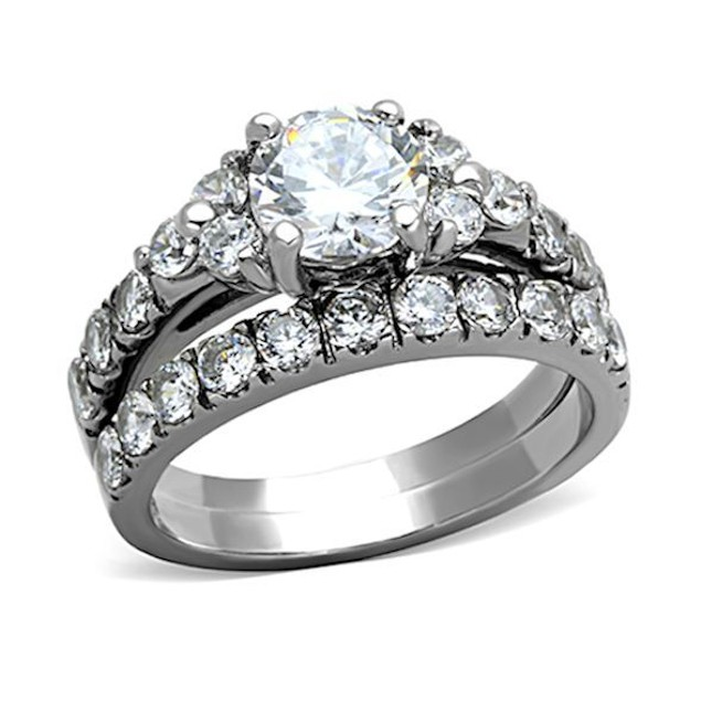 His Hers Stainless Steel & Titanium Wedding Ring Set