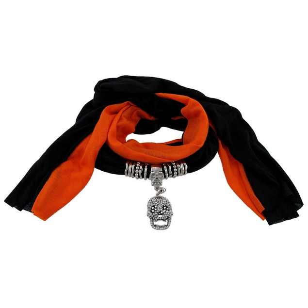 Black And Orange Skull Pendant Scarf Jewelry Womens Fashion Scarves