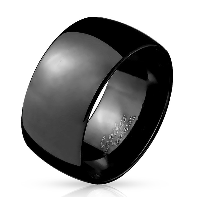 Wide Dome Black Stainless Steel Band Ring