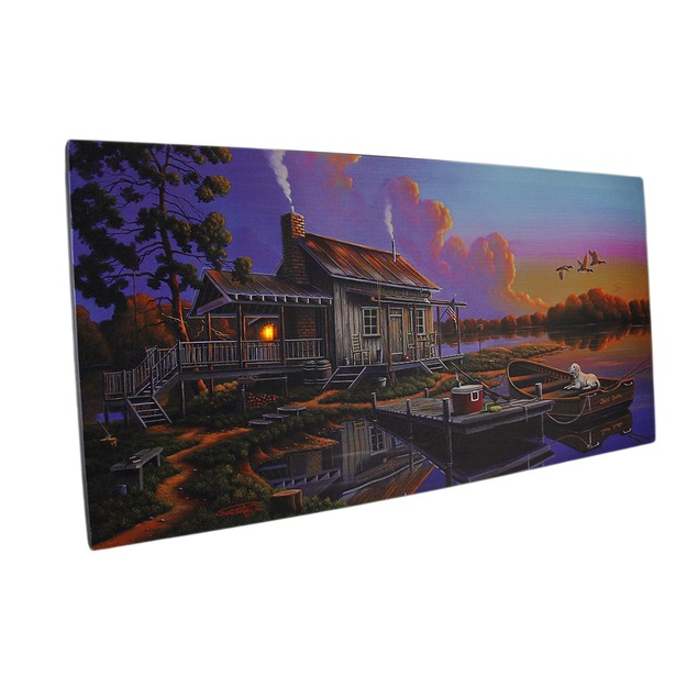 Led Lighted Cabin Lake Sunrise Canvas Wall Art Prints