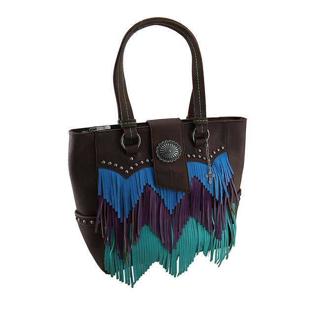 Blue Purple And Green Chevron Fringe Studded Brown Womens Shoulder Handbags