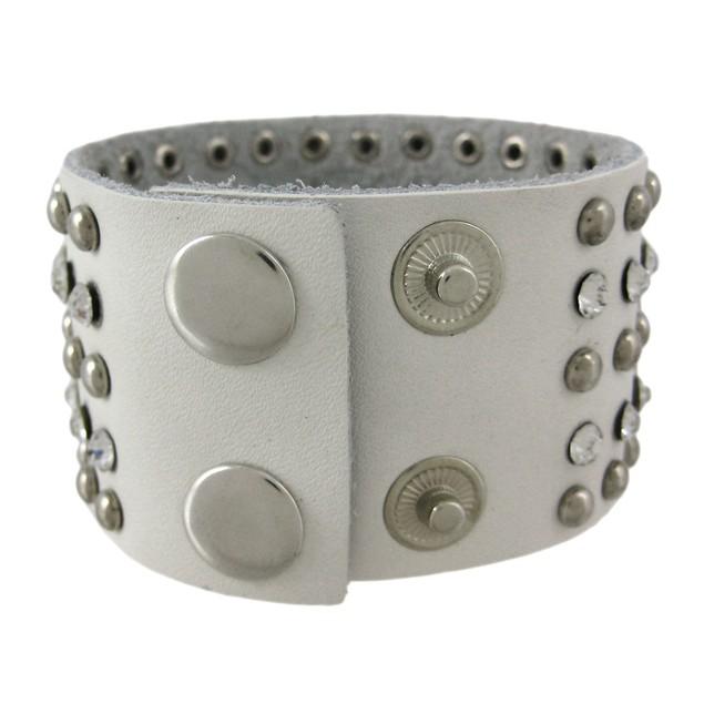 Chrome Studded White Leather Rhinestone Wristband Mens Leather Bracelets