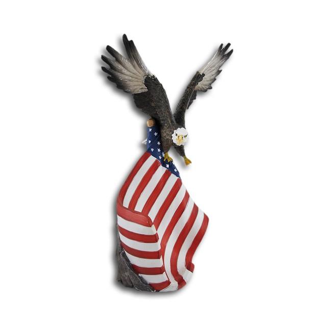 American Flag And Bald Eagle Single Bottle Wine Tabletop Wine Racks