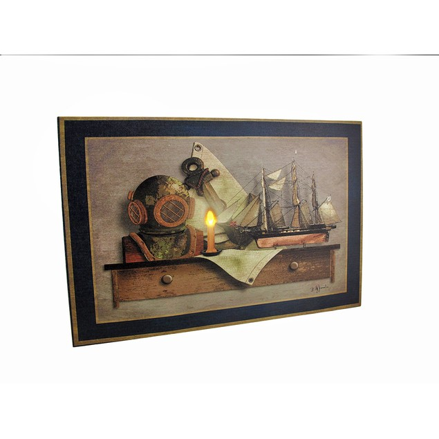 Sea Gear On Wall Shelf Led Lighted Canvas Wall Prints