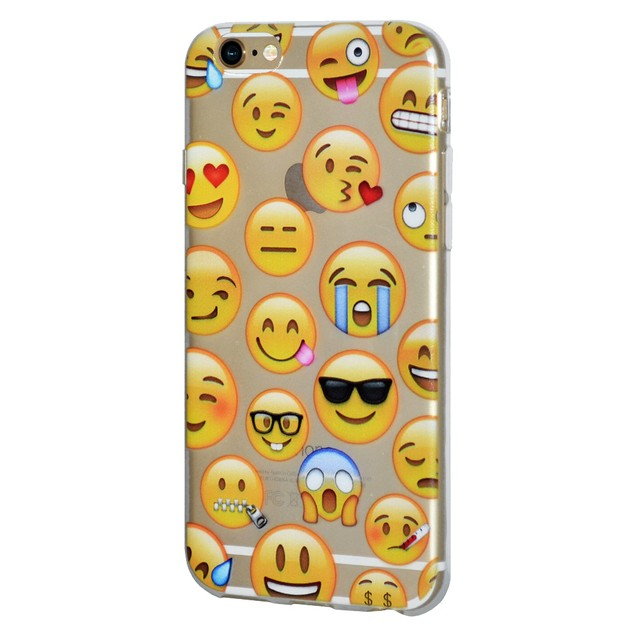 Soft Gel Graphic Emoji TPU Skin Case for iPhone 7 - Mixed Emotions