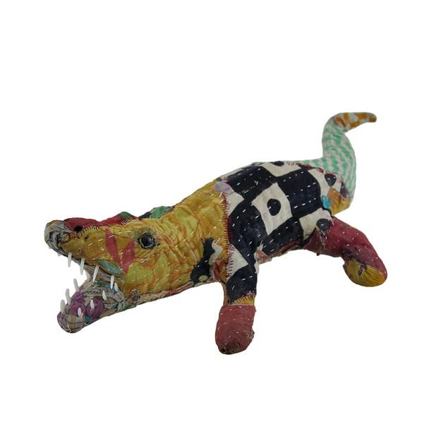 Vintage Sari Fabric Covered Paper Mache Alligator Statues