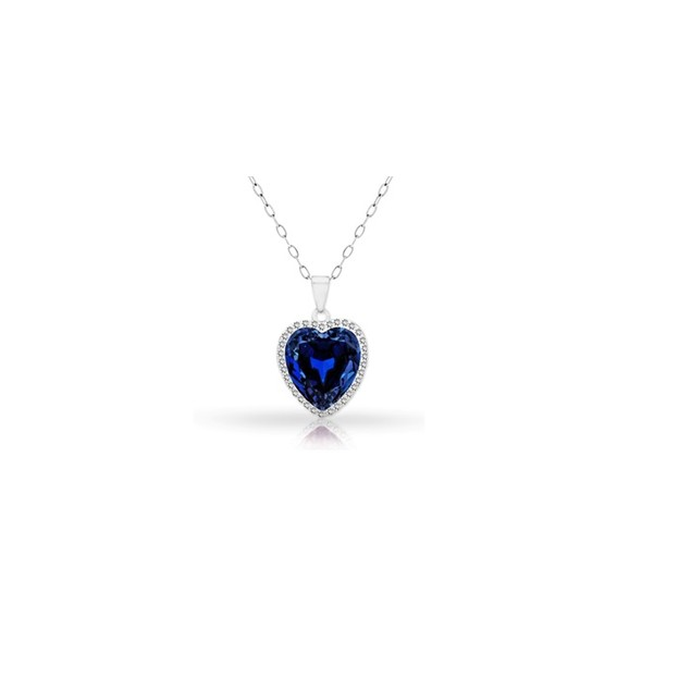 18KT White Gold Plated Halo Sapphire Heart Pendant in Sterling Silver