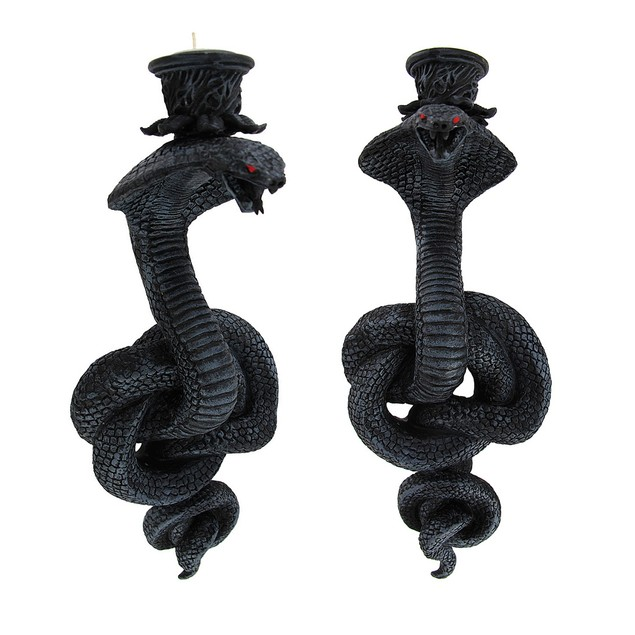 Pair Of Coiled Cobra Wall Mounted Candle Holders Candle Sconces
