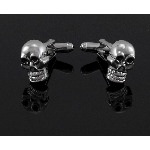 Chrome Plated Grinning Skull Cuff Links Cufflinks Mens Cuff Links