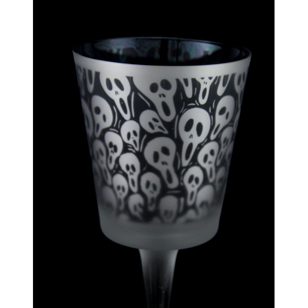 Set Of 2 Black & Clear Screaming Ghost Faces Candleholders