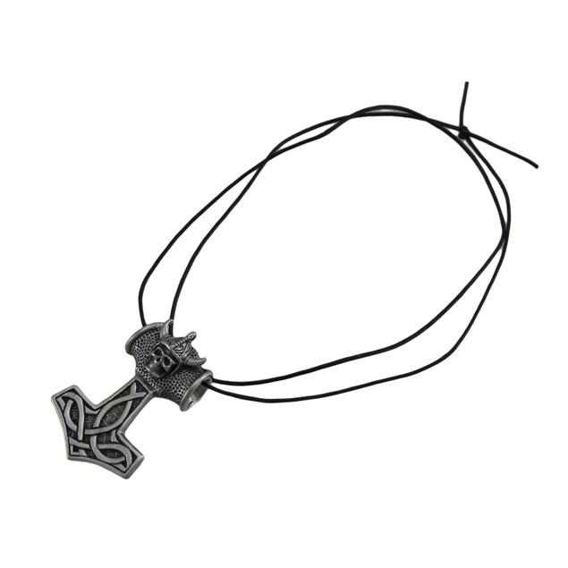 Large Pewter Viking Thor's Hammer Slide Pendant W/ Mens Pendant Necklaces