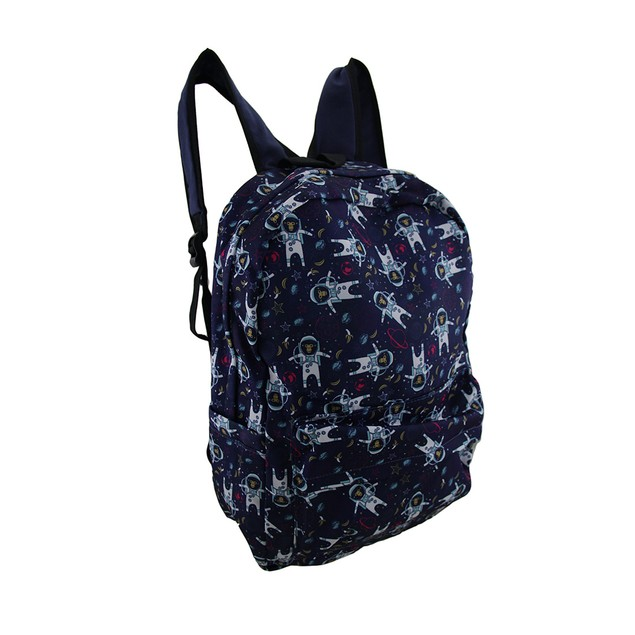 Blue Monkeys In Space Printed Fabric Backpack Womens Backpack Purses