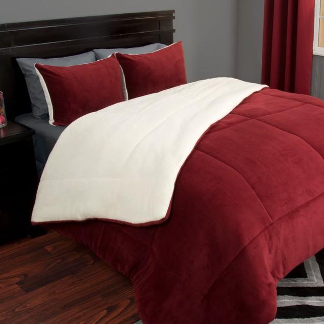 3-Piece Lavish Home Sherpa and Fleece Comforter Set