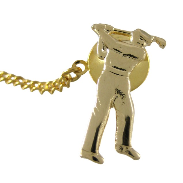 Gold Plated Golfer Tie Tack Golf Golfing Mens Tie Bar