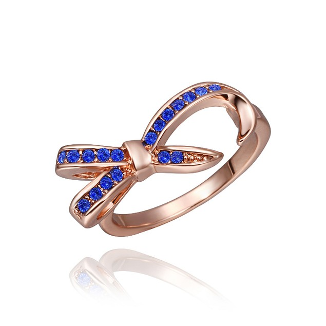 Designer-Inspired Bow Rose Gold Plated Dipped Blue Stone Ring