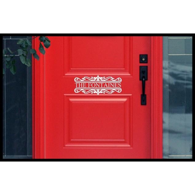 Family Name Vinyl Door Decal Design 4