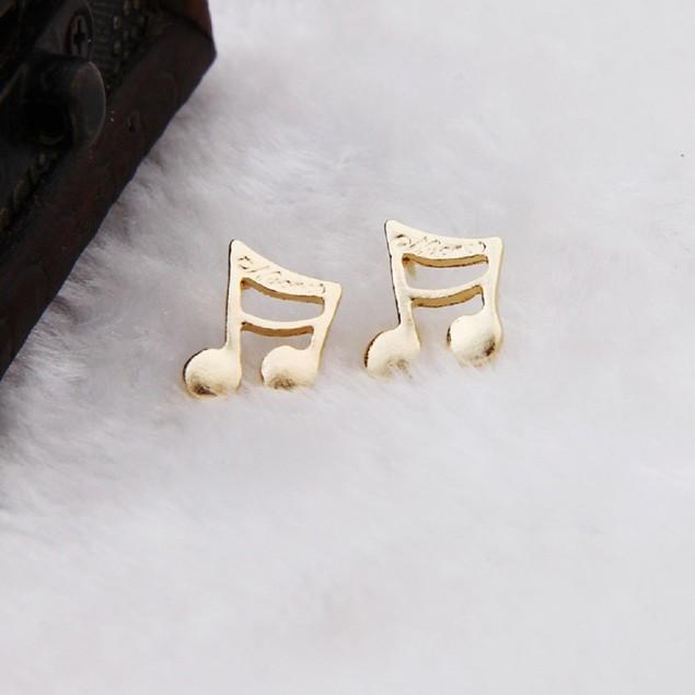 Gold tone Music Note Earrings