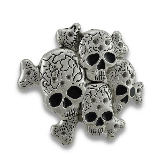 Chrome Multiple Skulls & Crossbones Belt Buckle Mens Belt Buckles