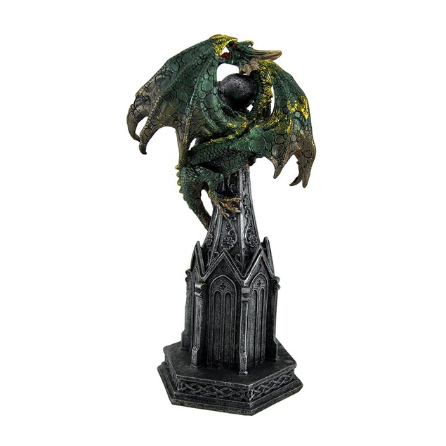 Metallic Green Dragon On Castle Statue Figure Statues