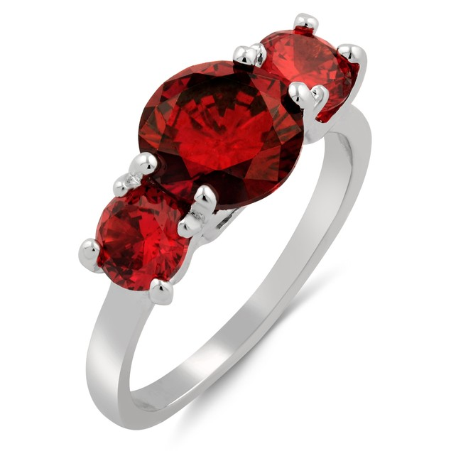 Classic Three-Stone Cubic Zirconia Ring - 3 Colors