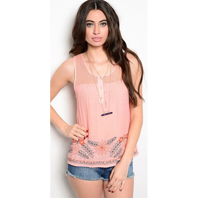 Pastel Floral Open Back Tank Top - 3 Colors