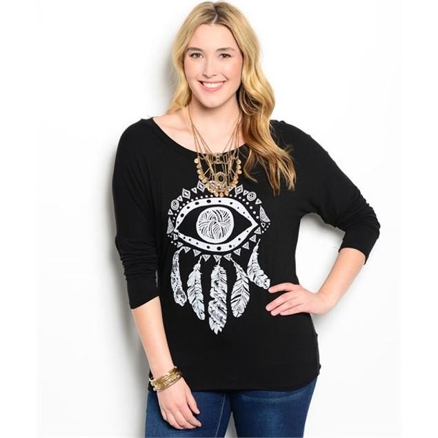 Plus Size Dream Catcher Dolman 3/4 Sleeve Shirt