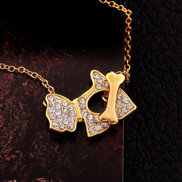 Gold Plated Crystal Dog & Bone Necklace