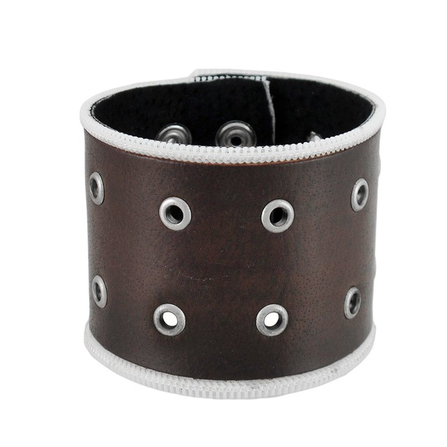 Brown Leather Brass Grommet Wristband Mens Leather Bracelets