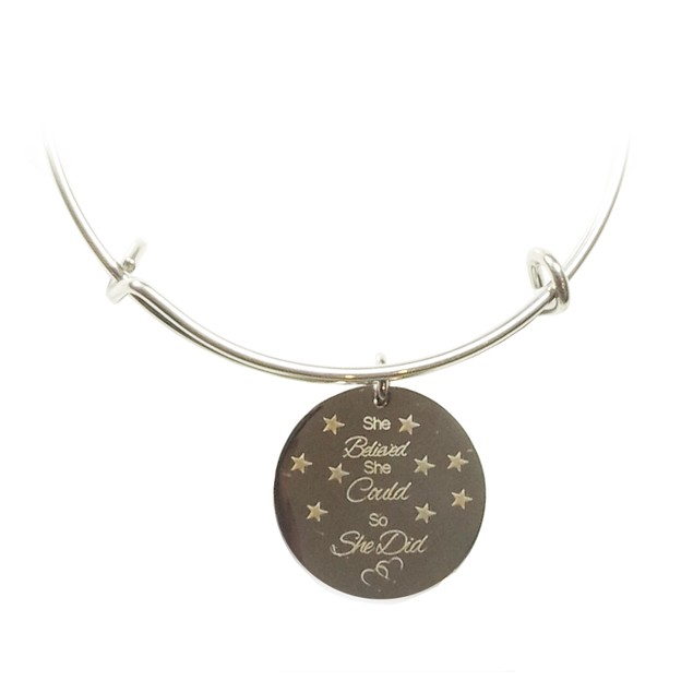 She Believed She Could So She Did Stainless Bangle
