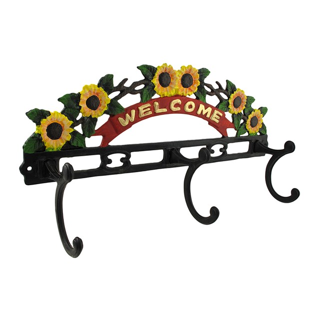 Painted Cast Iron `Welcome` Wall Plaque With 3 Decorative Wall Hooks
