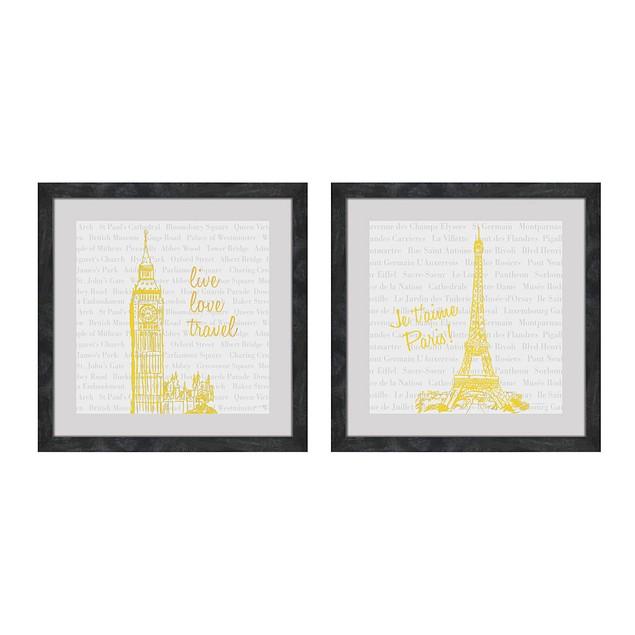 2 Pc. Live Love Travel Foiled Eiffel Tower/Big Ben Prints