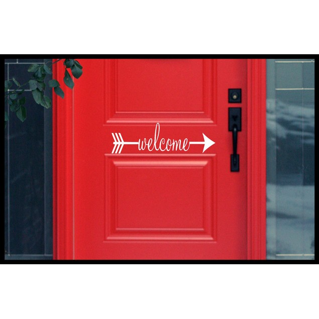 Welcome Arrow Door Decal